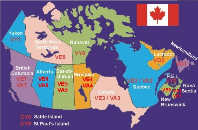 Canada call sign maps